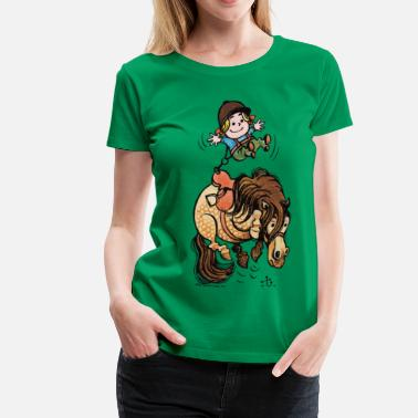 Officialbrands Thelwell Funny Illustration Bucking Horse - Women's Premium T-Shirt
