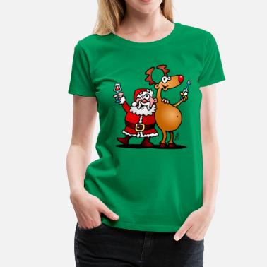Merry Santa Claus and his reindeer - Women's Premium T-Shirt
