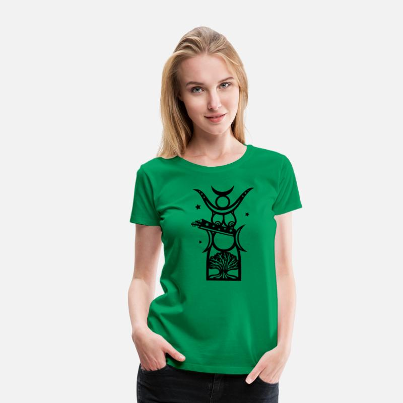 Birth T-Shirts - Diana, goddess of the forest, moon goddess - Women's Premium T-Shirt kelly green
