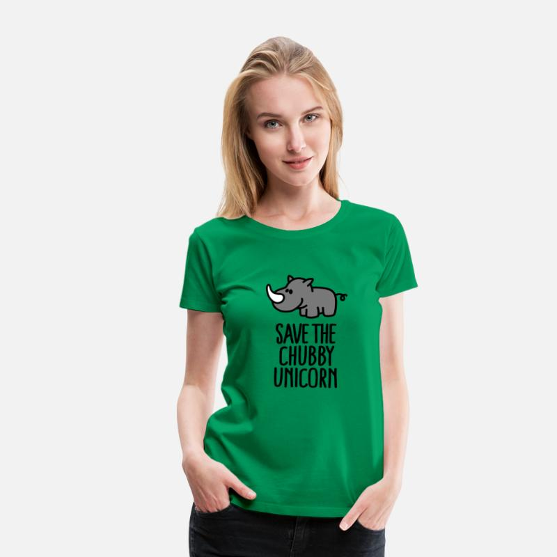 Grappige T-Shirts - Save the chubby unicorn - Vrouwen premium T-shirt kelly groen