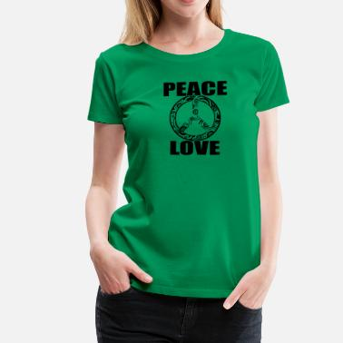 Hippiliike Peace Love T-paita Peace and Love Peace Sign - Naisten premium t-paita