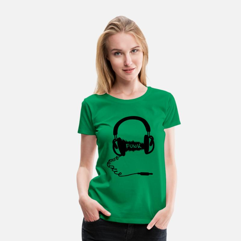 Audiophile T-Shirts - Headphones Audio Wave Design: Funk Musik - Women's Premium T-Shirt kelly green