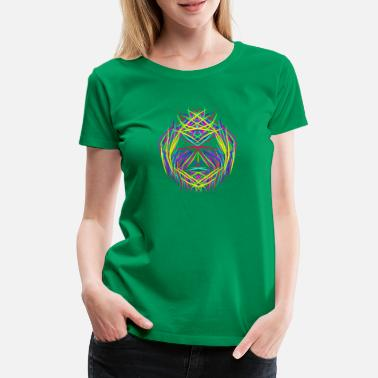 Trippy Psychedelic face trippy abstract psychedelic colorful - Women's Premium T-Shirt