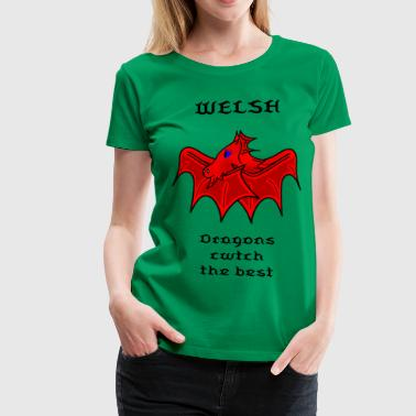 welsh cute dragon - Women's Premium T-Shirt