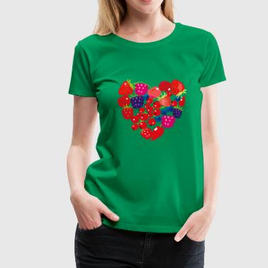 Fruits heart - strawberry cherry raspberry snacking - Women's Premium T-Shirt
