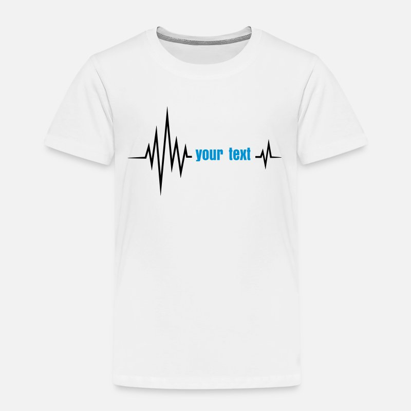 Heartbeat T-Shirts - Your text pulse, frequency, heartbeat, party music - Kids' Premium T-Shirt white