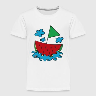 Melon, boat, ship, water-melon, summer, cloud - Kids' Premium T-Shirt