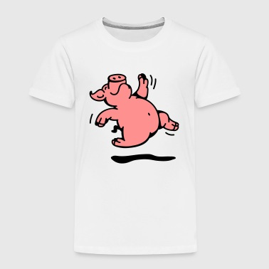 The funny pig is dancing a merry dance - Kids' Premium T-Shirt