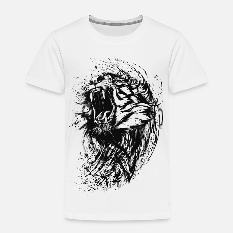 Animal Collection T-skjorter - Tiger - Paint - Premium T-skjorte barn hvit