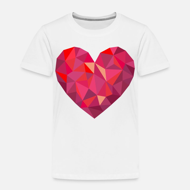 Friends T-Shirts - Valentine's Day Geometric Low Poly Heart - Kids' Premium T-Shirt white