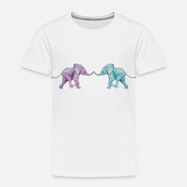 Trunk Two elephants - trunk to trunk (purple,turquoise) - Kids' Premium T-Shirt