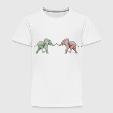 Two elephants - trunk to trunk (green,red) - Kids' Premium T-Shirt