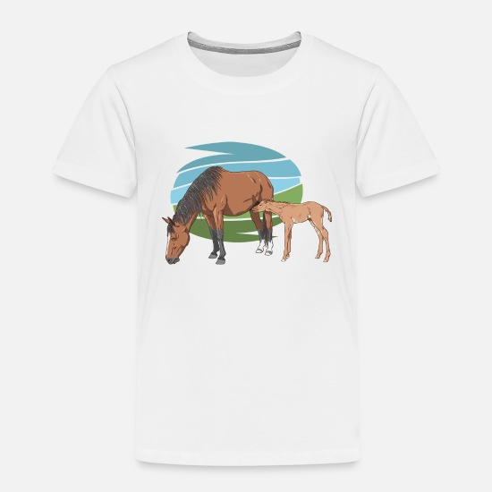 Fohlen T-Shirts - Mare and Foal - Kinder Premium T-Shirt Weiß