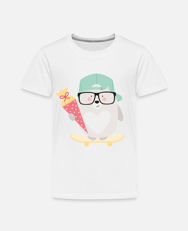 Schulkind 2018 T-Shirts - BEAR AT SCHOOL - Kinder Premium T-Shirt Weiß