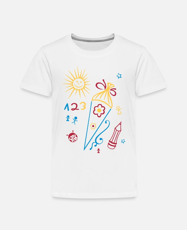 Schultüte T-Shirts - Schule, Schulanfang, Kinder, back to school - Kinder Premium T-Shirt Weiß