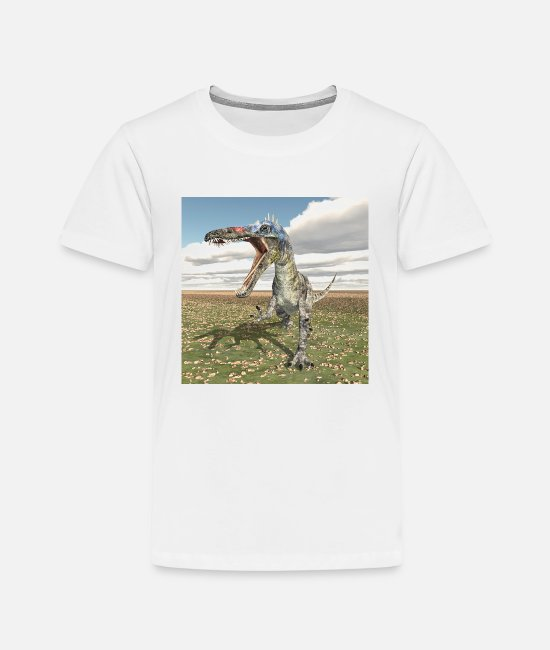 Primeval Times T-Shirts - Suchomimus dinosaur in a landscape - Kids' Premium T-Shirt white