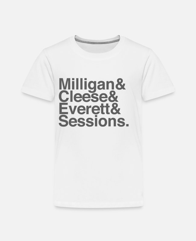 Black Metal T-Shirts - Milligan Cleese Everett Sessions (grey text) - Kids' Premium T-Shirt white
