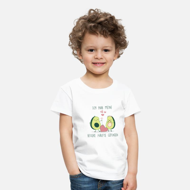 I Love T-Shirts - Avocado Love german bio eco fresh romantic T-Shirt - Kids' Premium T-Shirt white