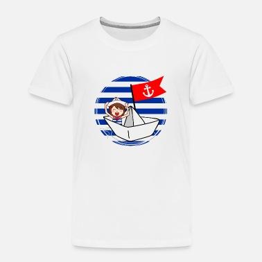 124507fe5c7d Marina - pequeño marinero en su barco Camiseta de manga larga bebé ...