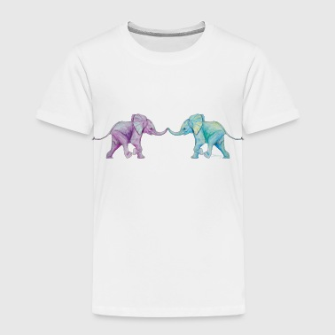 Two elephants - trunk to trunk (purple,turquoise) - Kids' Premium T-Shirt