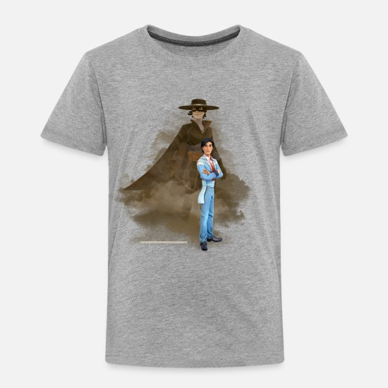 Diego T-Shirts - Zorro The Chronicles Don Diego Double Life - Kids' Premium T-Shirt heather grey