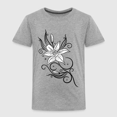 Lilies with filigree tribal ornament, floral. - Kids' Premium T-Shirt