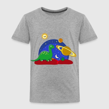 Dino on Space Dino im Weltall Saturn Mond - Kinder Premium T-Shirt