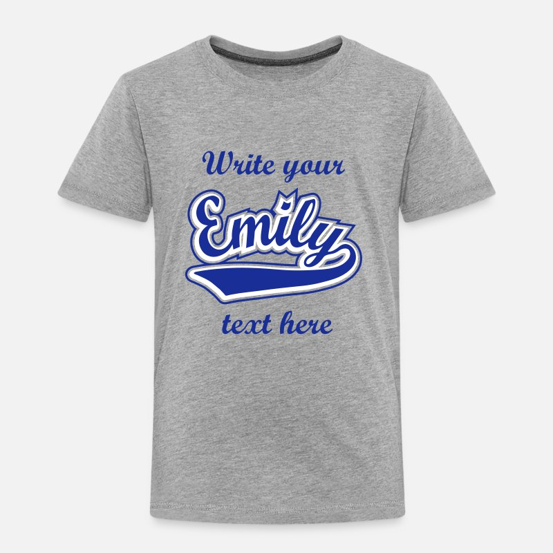 Emily T-Shirts - Emily - T-shirt Personalised with your name - Kids' Premium T-Shirt heather grey