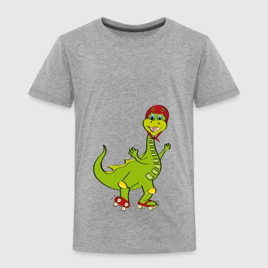 roller skating with a little dragon - Kids' Premium T-Shirt
