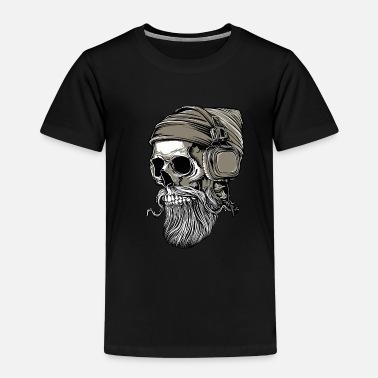 2d870b8527cb16 Totenkopf Bart Hipster Skull mit Kopfhörer - Kinder Premium T-Shirt
