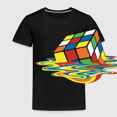 Rubik's Cube Melted Colourful Puddle - Premium-T-shirt barn