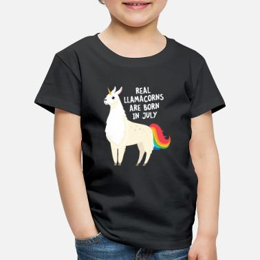 Lama Unicorn Real Llamacorns Are Born In July | Birthday Design - Kinder Premium T-Shirt