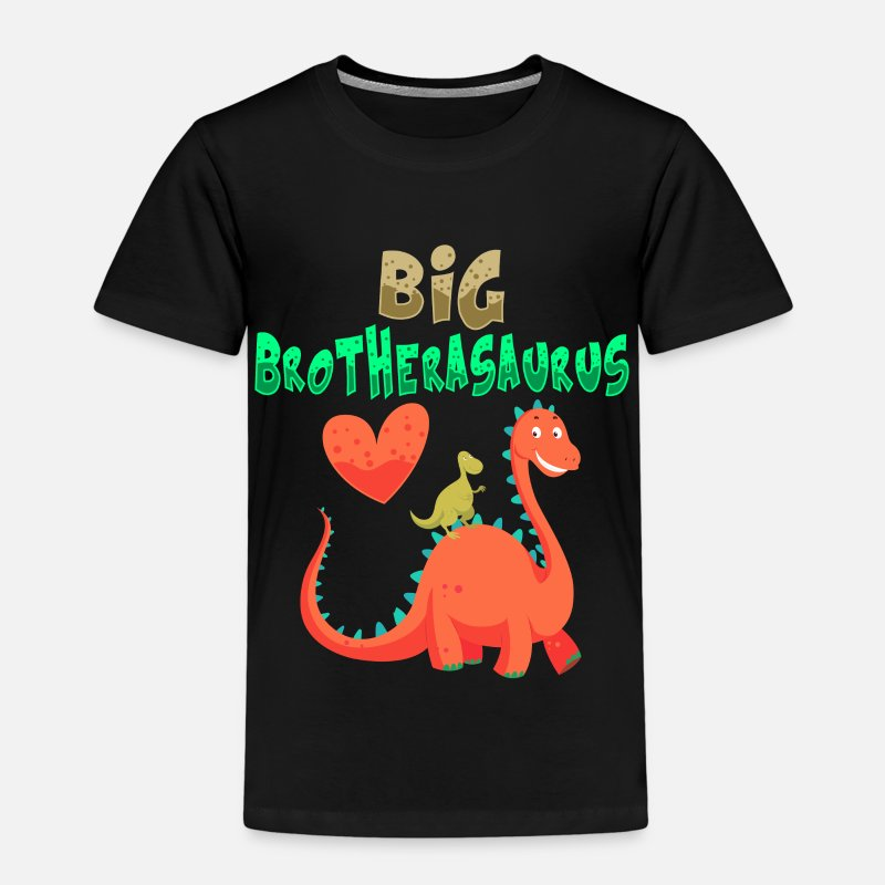 Big T-Shirts - Big Brotherasaurus Dinosaur Big Brother - Kinderen premium T-shirt zwart