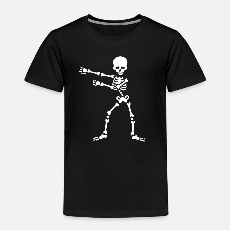 Premium T-Shirts - The floss dance flossing backpack boy kid skelet - Kinderen premium T-shirt zwart