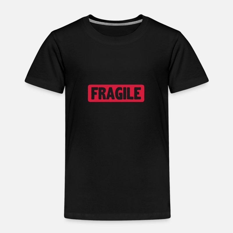 Fragile T-Shirts - Fragile word board sign - Kids' Premium T-Shirt black