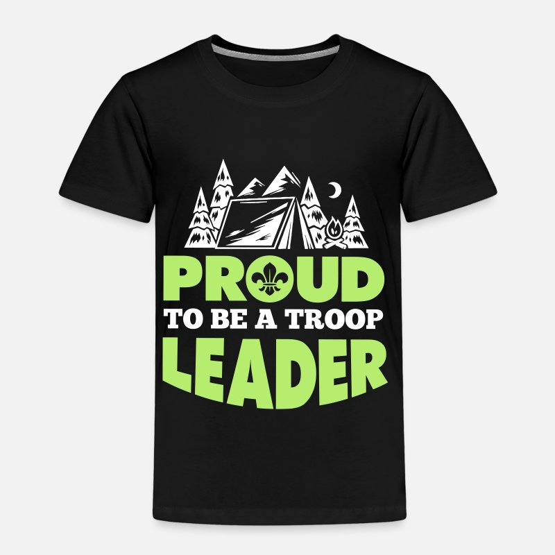 Camping T-Shirts - Scout: Proud to be a troop leader - Kids' Premium T-Shirt black