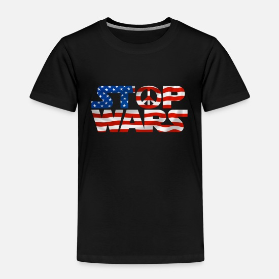 Peace Sign T-Shirts - Stop War - Stop Wars - - USA Flag - Kids' Premium T-Shirt black