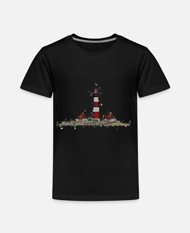 Northern Germany T-Shirts - The Westerhever lighthouse with a difference - Kids' Premium T-Shirt black