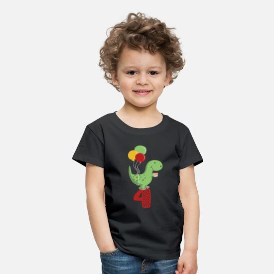 Birthday T-Shirts - Fourth Birthday Boy T Rex Dinosaur - Kids' Premium T-Shirt black
