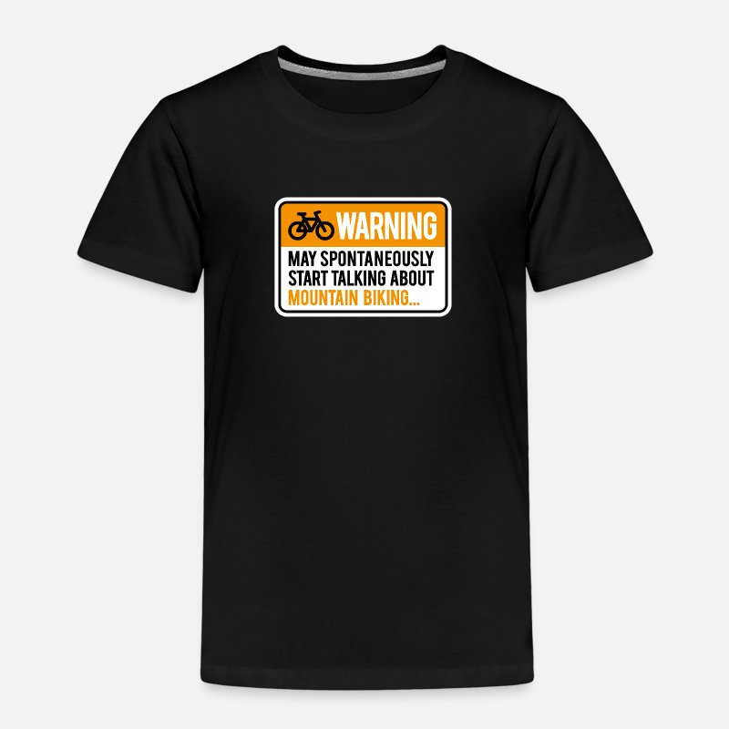 Cross Country T-Shirts - Warning may start talking about mountain biking - Kinderen premium T-shirt zwart