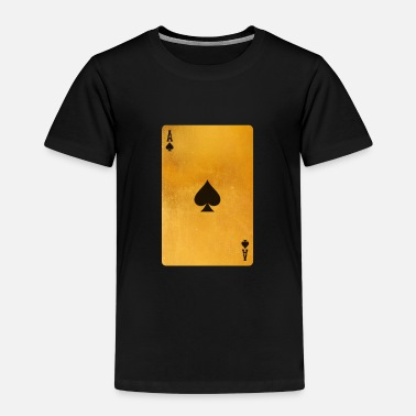 Playing Cool Gold Ace Playing Cards Single Ace of Spades - Kids' Premium T-Shirt