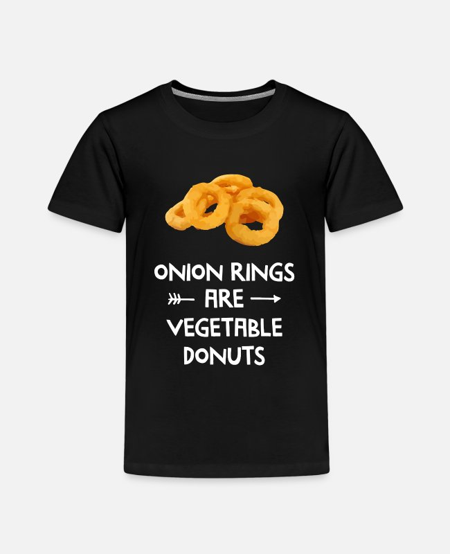 Donut T-Shirts - Onion Rings Are Vegetable Donuts Vegan - Kids' Premium T-Shirt black