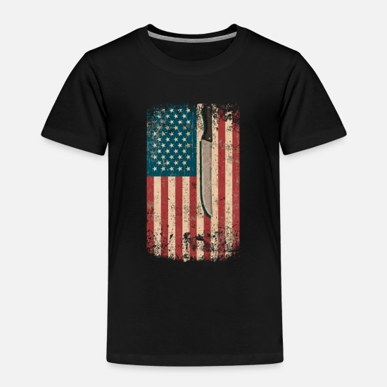 Birthday T-Shirts - Meat Cutter Profession USA Flag Pride Tshirt - Kids' Premium T-Shirt black