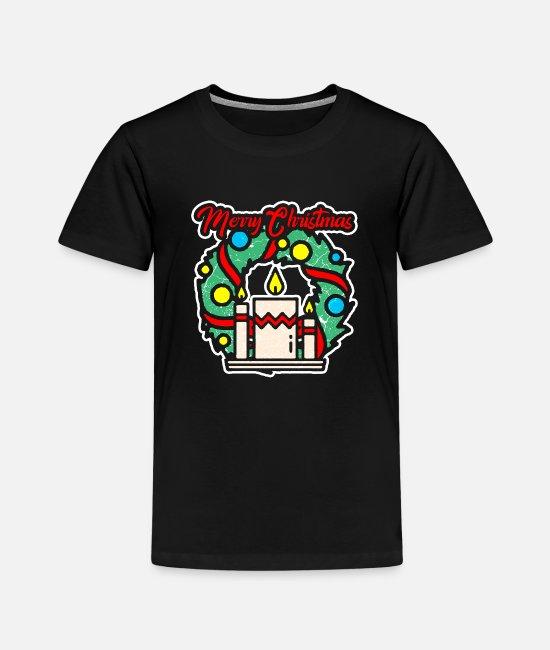 Adventkrans som brenner lys og god jul Premium T skjorte