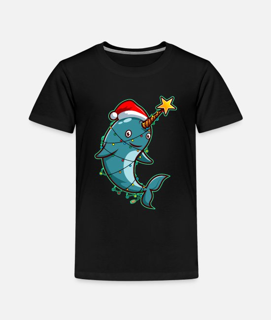 Christmas T-Shirts - Narwhal unicorn winter star about Bethlehem humor - Kids' Premium T-Shirt black
