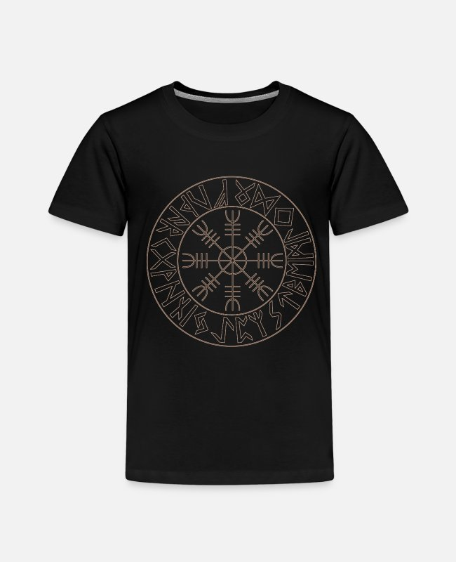 Viking T-Shirts - Helm of Awe Futhark Circle Viking gods - Kids' Premium T-Shirt black