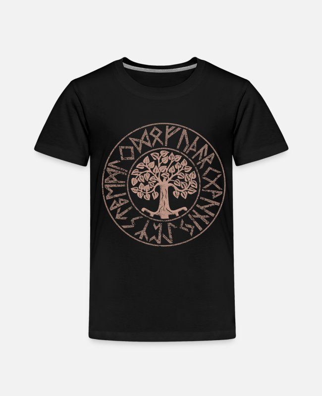 Viking T-Shirts - Yggdrasil Tree of Life Futhark Runes Vikings - Kids' Premium T-Shirt black