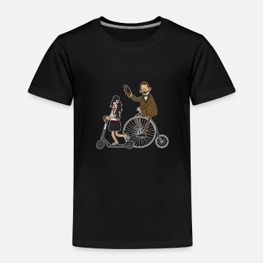 Scooters Meet Cyclists and e-scooters - dark underground - Kids' Premium T-Shirt