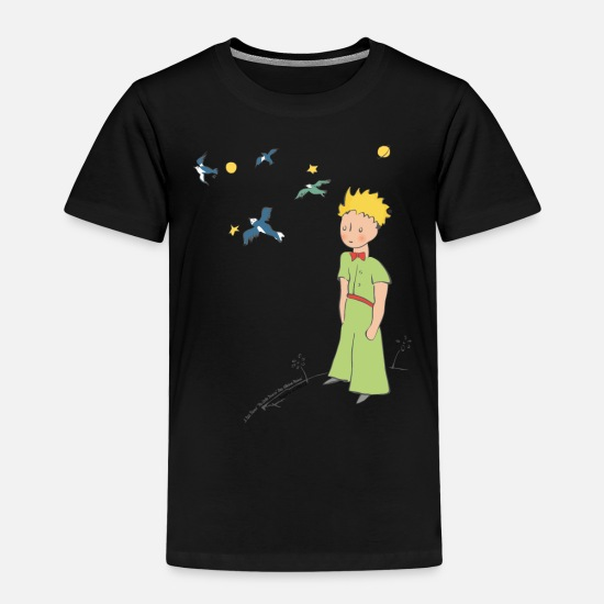 Drawing T-Shirts - The Little Prince Travels With Birds - Kids' Premium T-Shirt black