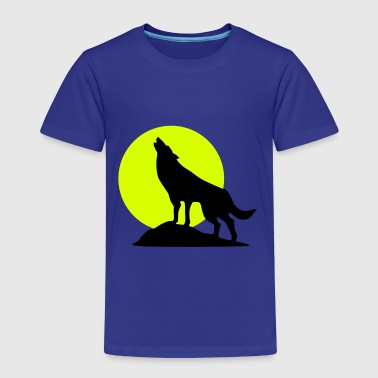 Wolve and Moon Silhouette, Wolf, Dog - Kids' Premium T-Shirt